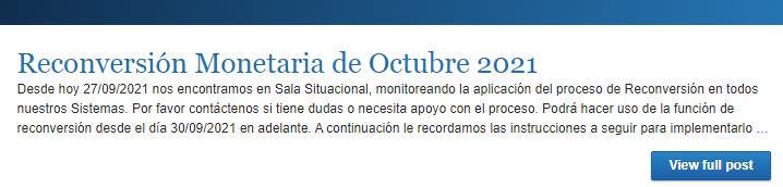 Reconversión Monetaria de Octubre 2021
