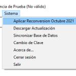 Se muestra la opción de Reconversión en el menú Sistemas del Sistema Administrativo.